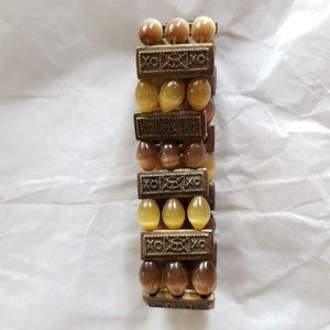 Cream & brown tiger eye beads stretch bracelet